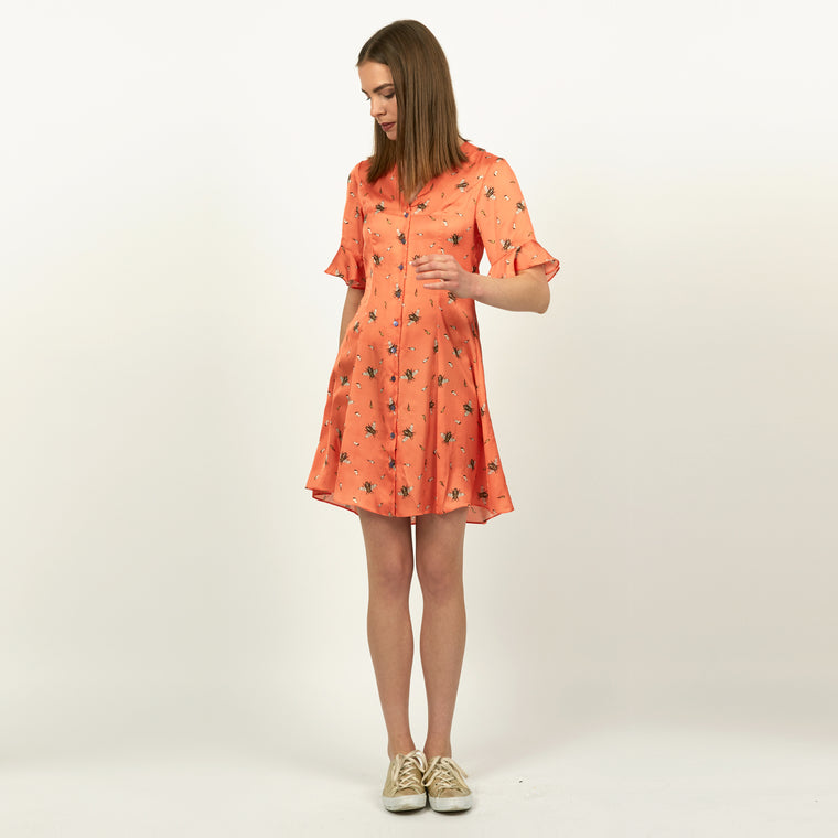 Bertie Bee print bright orange button front mini tea dress by Louise Coleman.