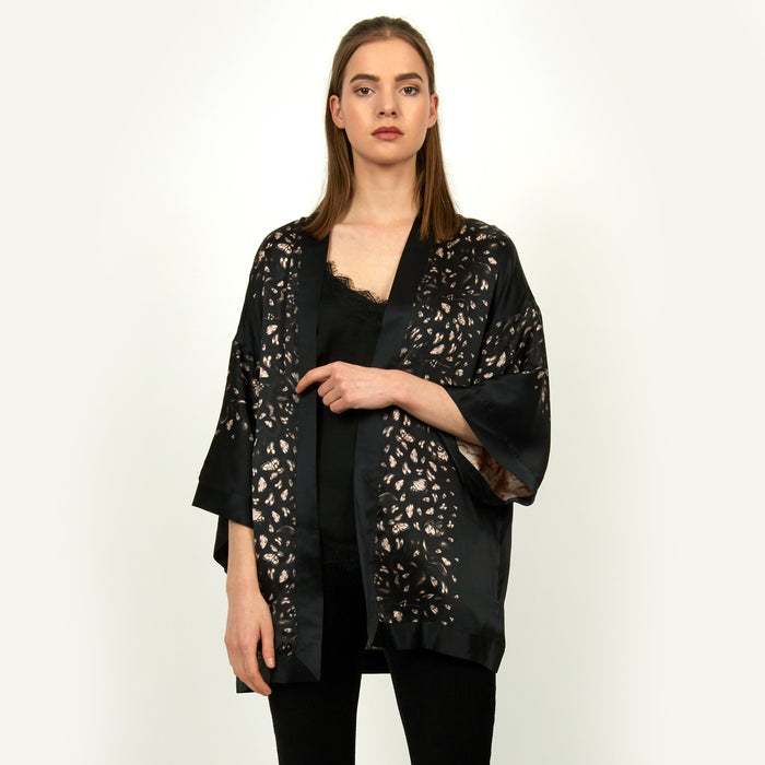 Bonsai print silk reversible kimono jacket by Louise Coleman