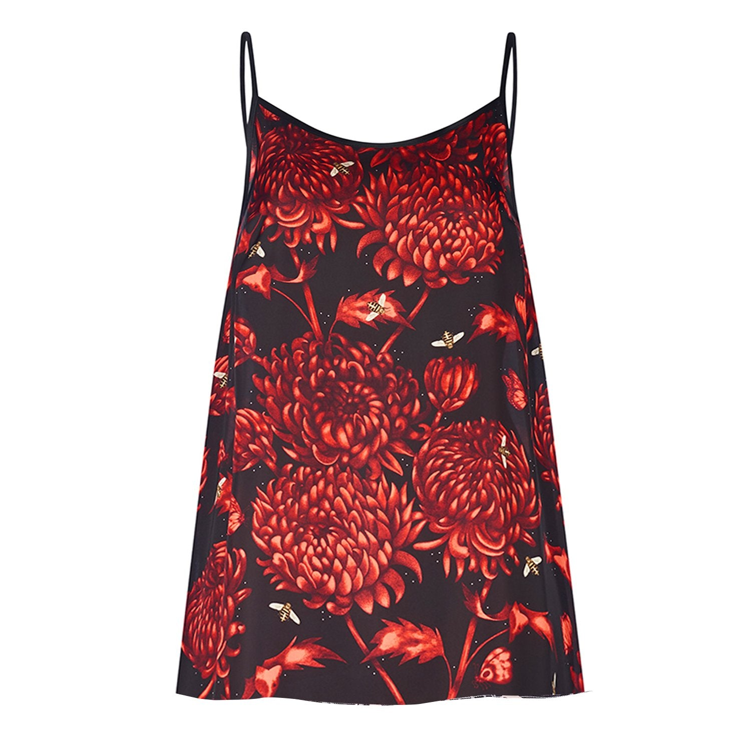 Akai Kiku camisole top featuring detailed hand illustrated floral chrysanthemum print by Louise Coleman