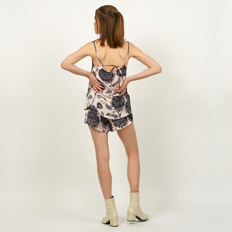 Gure Kiku printed camisole top featuring detailed hand illustrated floral chrysanthemum design by Louise Coleman