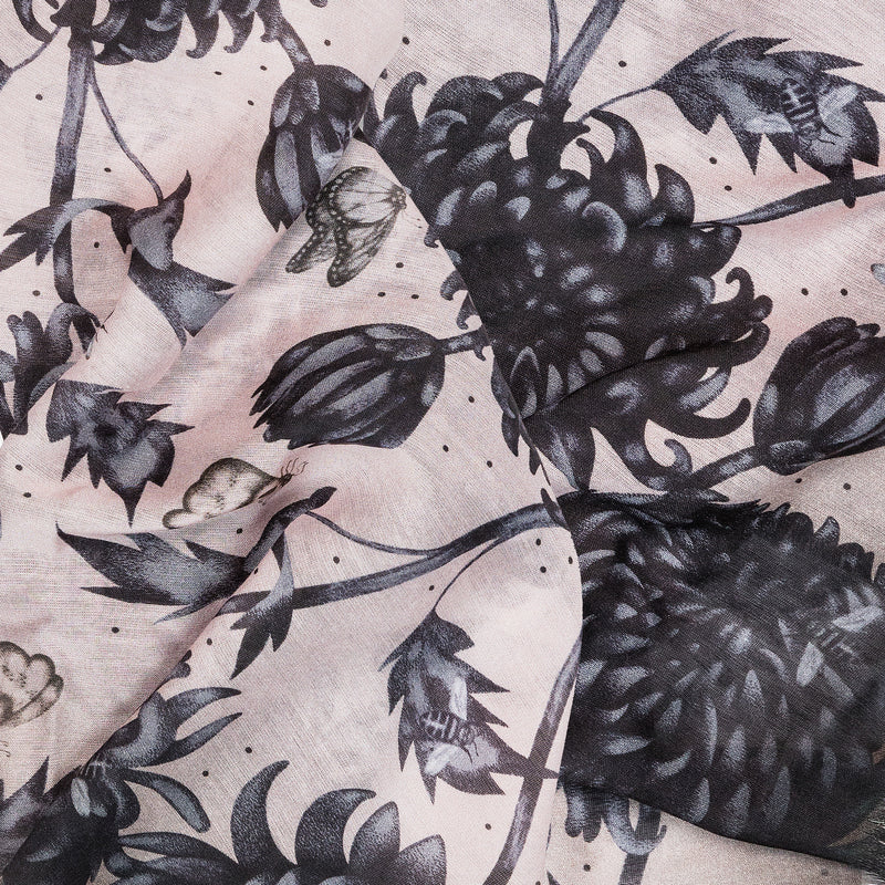 The Gure Kiku silk and modal square scarf featuring an intricate hand illustrated floral print by Louise Coleman