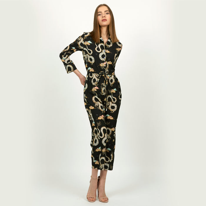 Magic Dragon floral and lantern print jumpsuit by Louise Coleman.