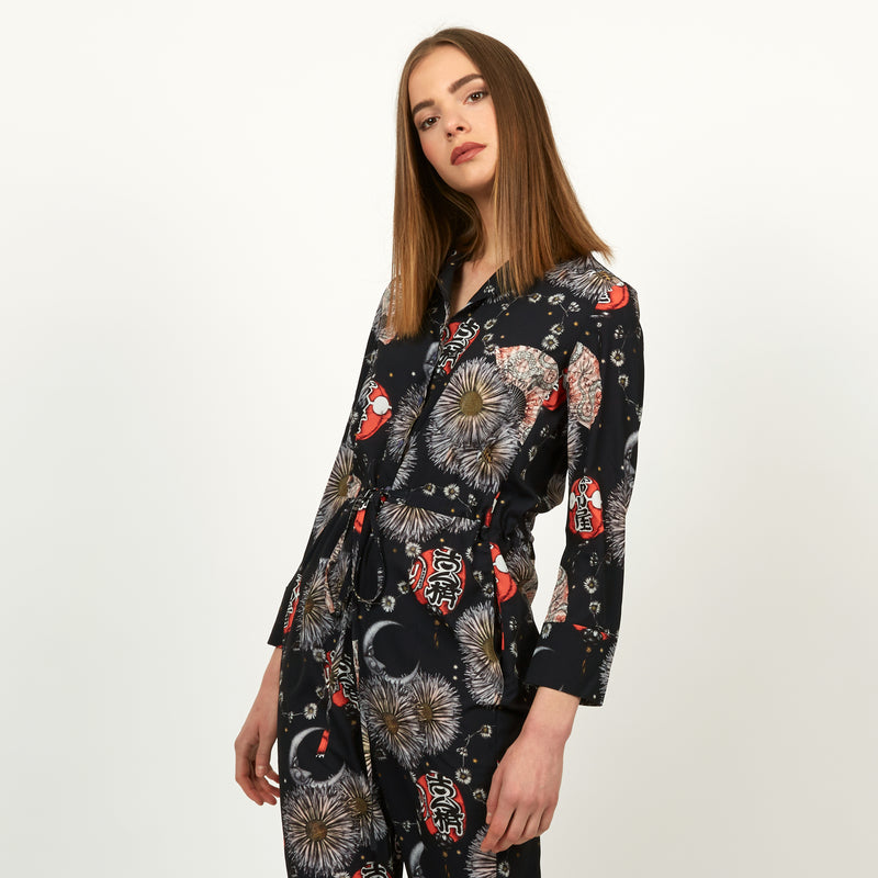Gion floral and lantern print jumpsuit by Louise Coleman.