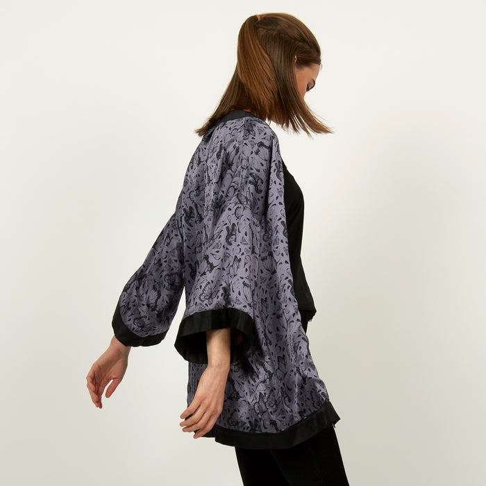 Sun Man print silk reversible kimono jacket by Louise Coleman