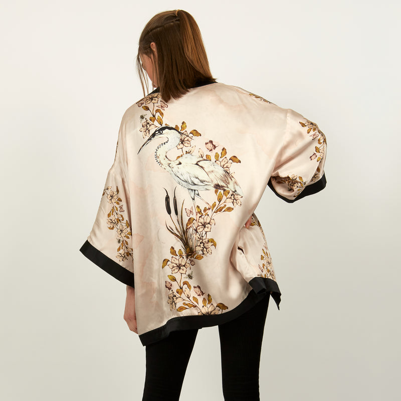 Heron and lily print silk reversible kimono jacket by Louise Coleman