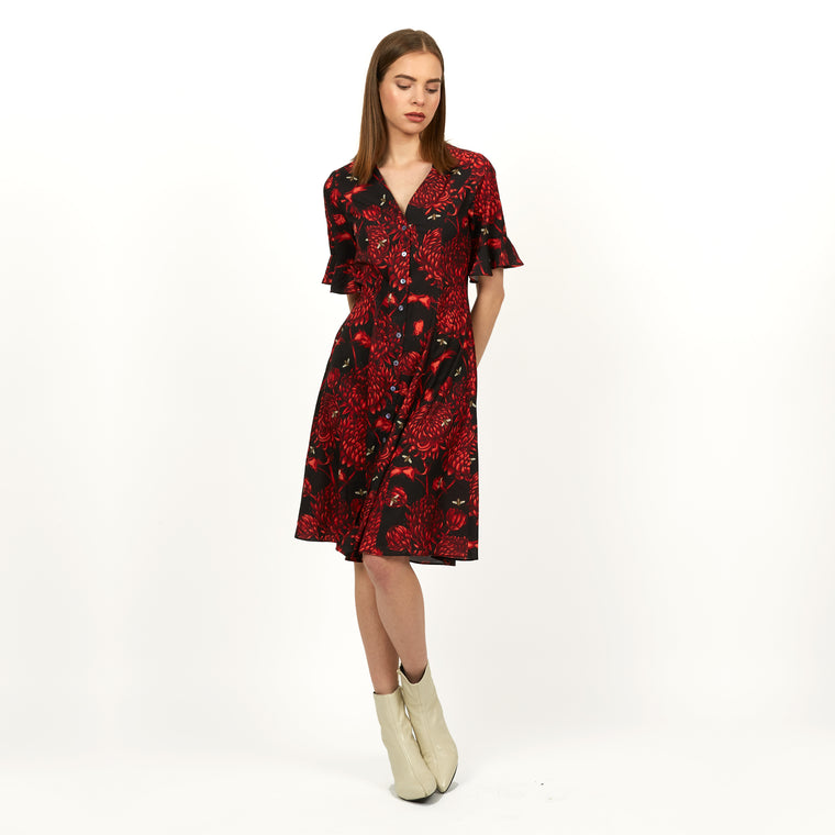 Akai Kiku print button midi dress by Louise Coleman.