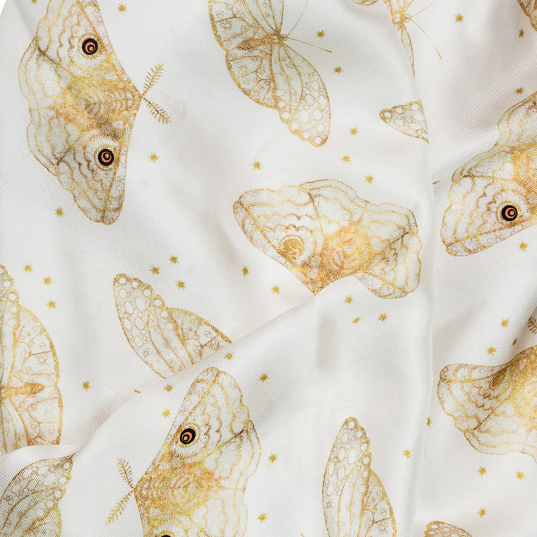 Ivory Moth silk square moth print scarf by Louise Coleman