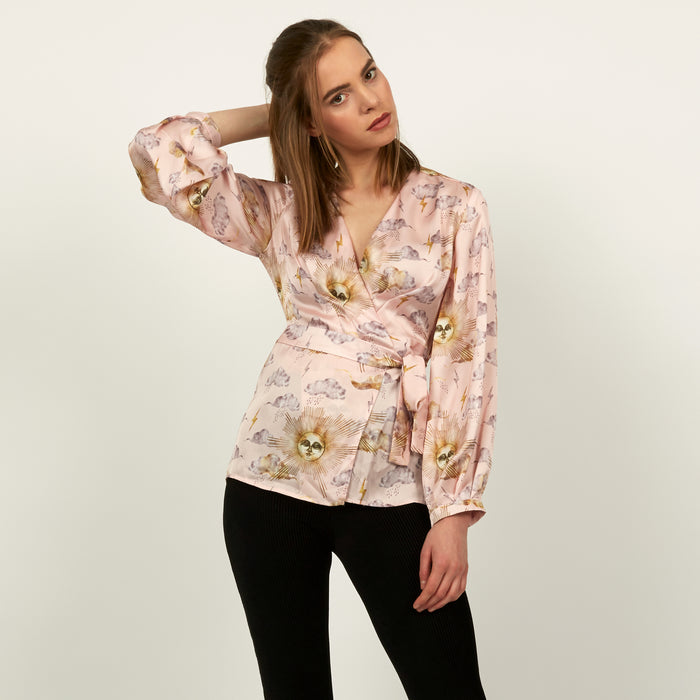 Wrap top in pale pink Sun print by Louise Coleman.
