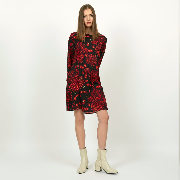 Akai Kiku LS tunic dress featuring detailed hand illustrated floral chrysanthemum print by Louise Coleman.