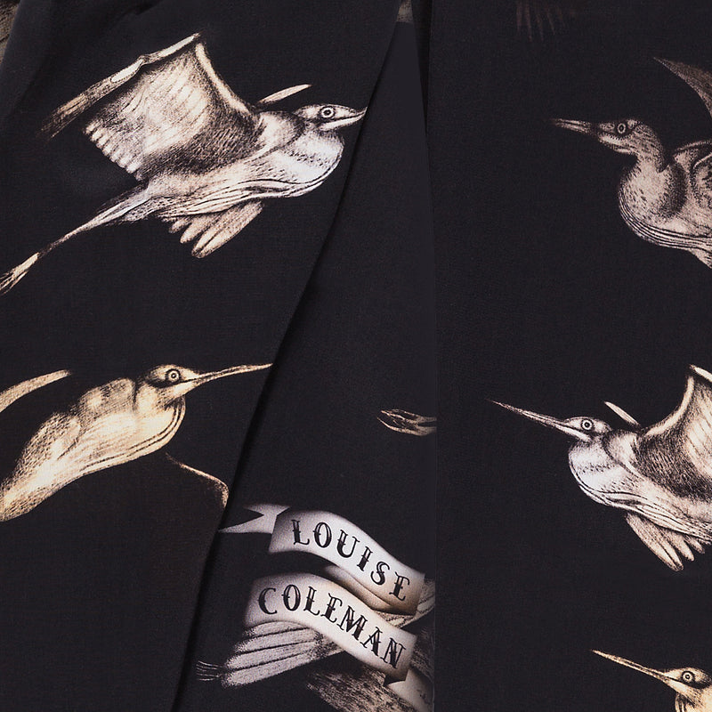 Flight silk scarf featuring Japanese storks in in flight by Louise Coleman