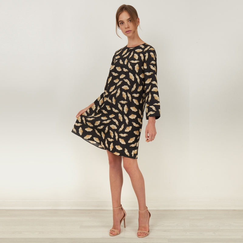 Silk LS tunic dress featuring the hand illustrated gold moth print by Louise Coleman