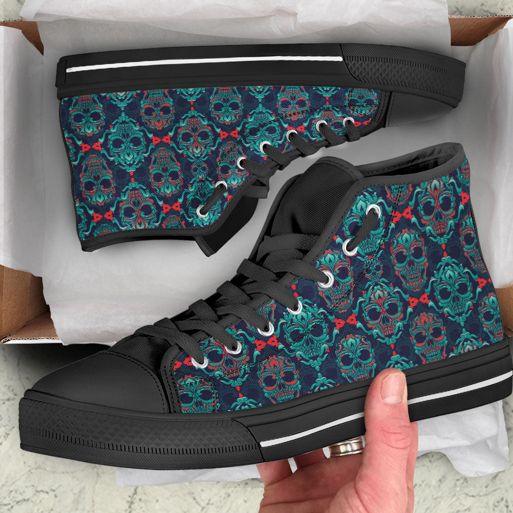Sugar Skull Ladies Canvas High Top Shoes Black