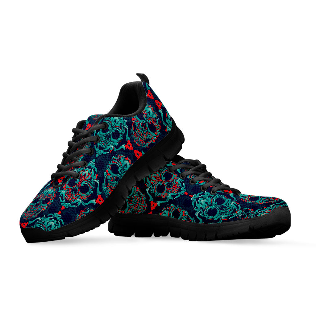 Sugar Skull Mens Canvas Running Shoes Black