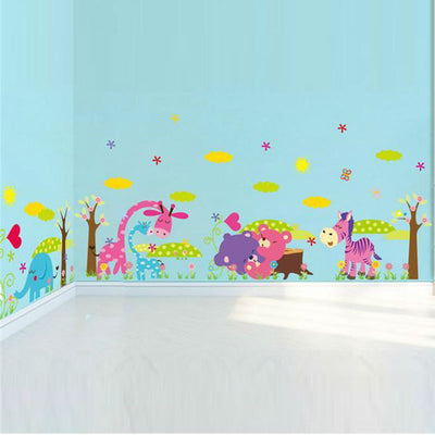 Cartoon Animal Wall Decals for Baby and Kids Room