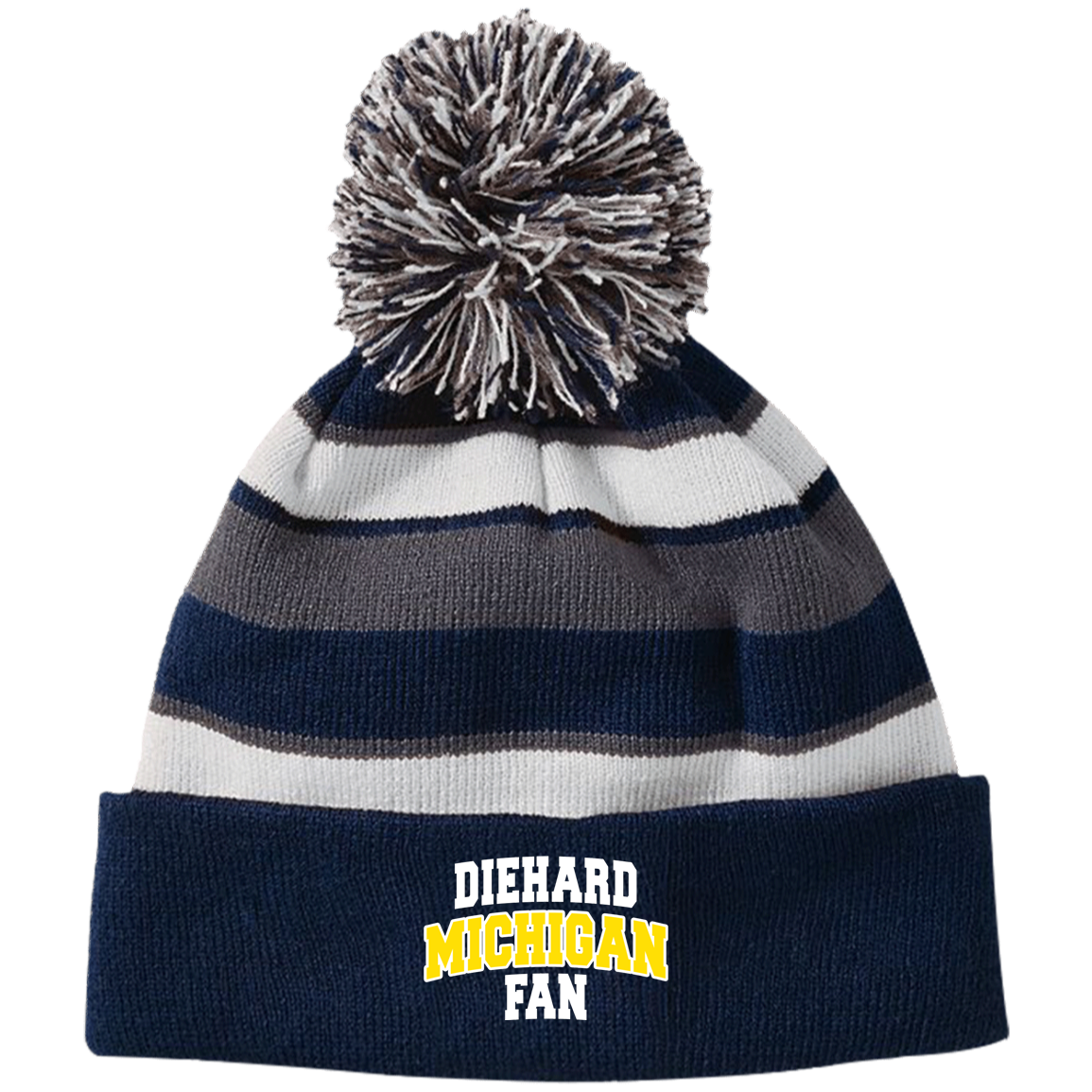 MI Holloway Striped Beanie with Pom