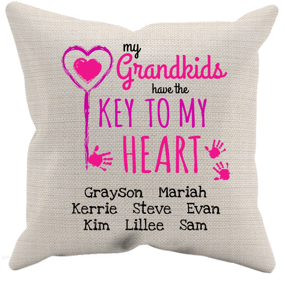 Key To My Heart Personalized Canvass Pillow Case And Insert