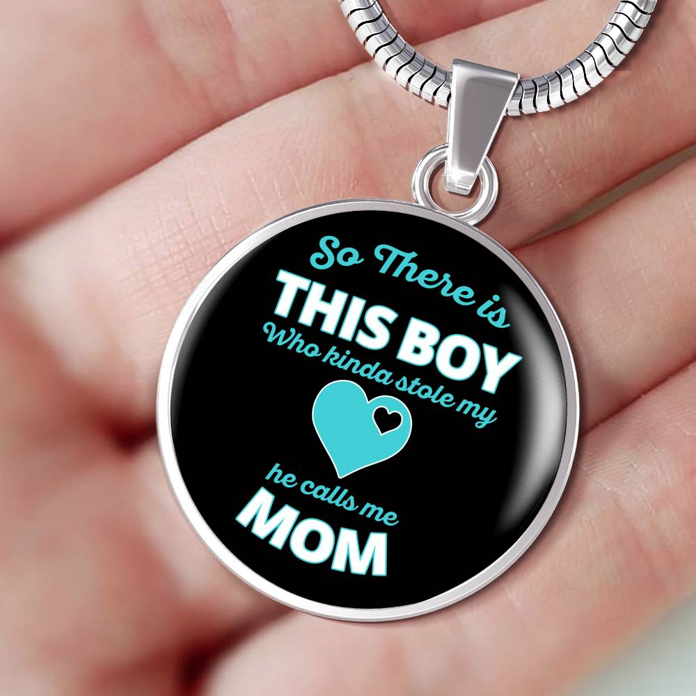 Boy Stole My Heart Silver Mom Necklace