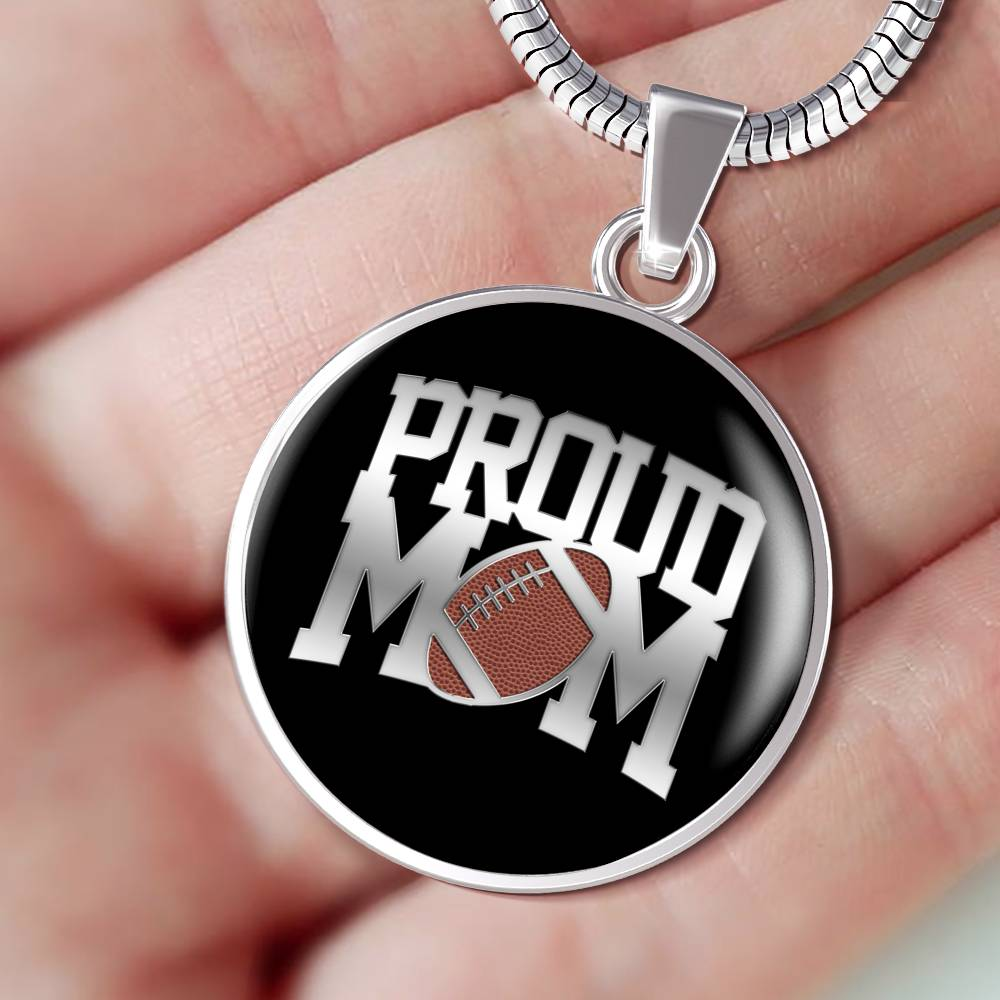 Proud Football Mom Luxuary Silver Necklace
