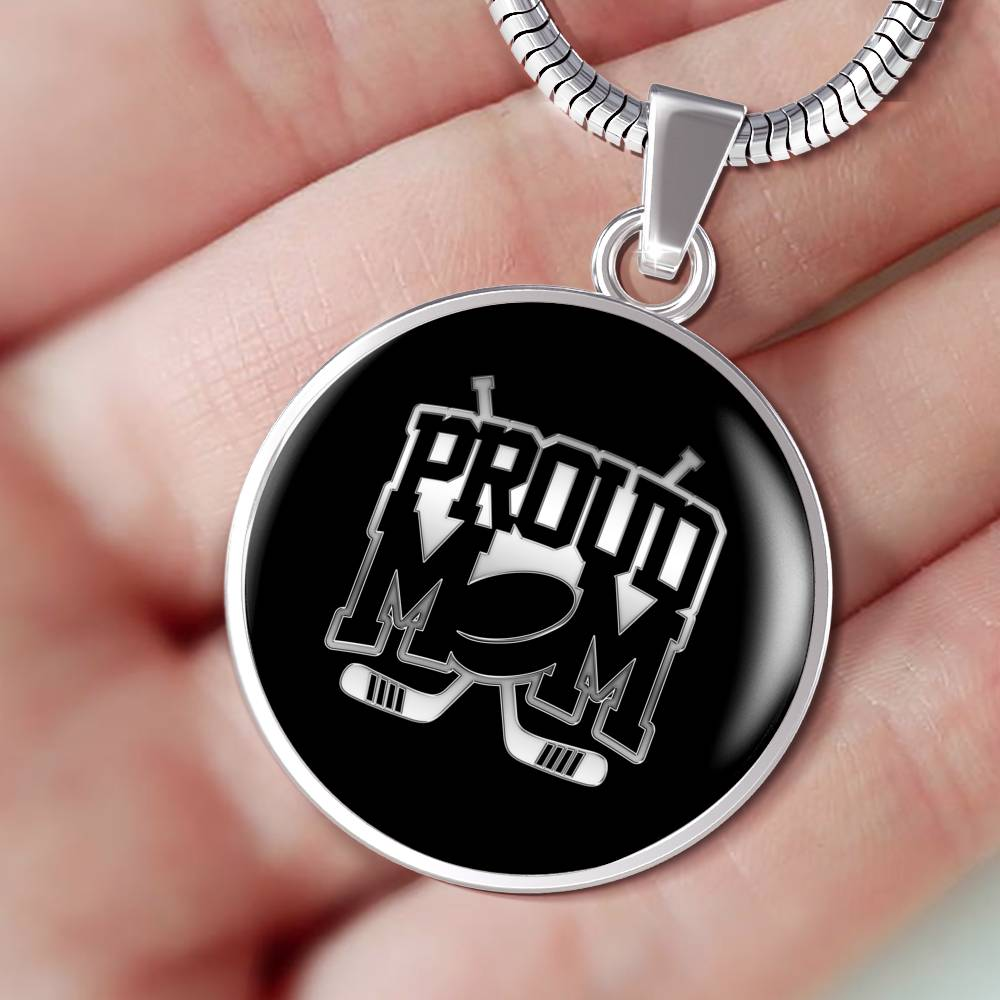 Proud Hockey Mom Luxuary Silver Necklace