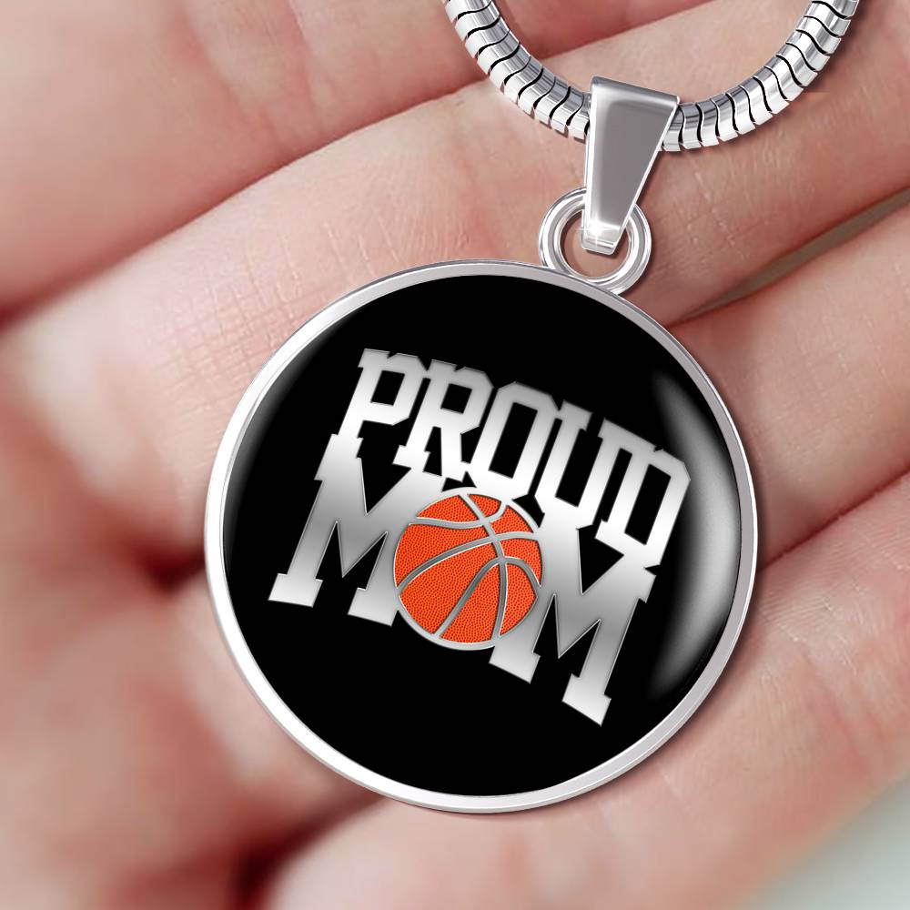 Proud Basketball Mom Luxuary Silver Necklace