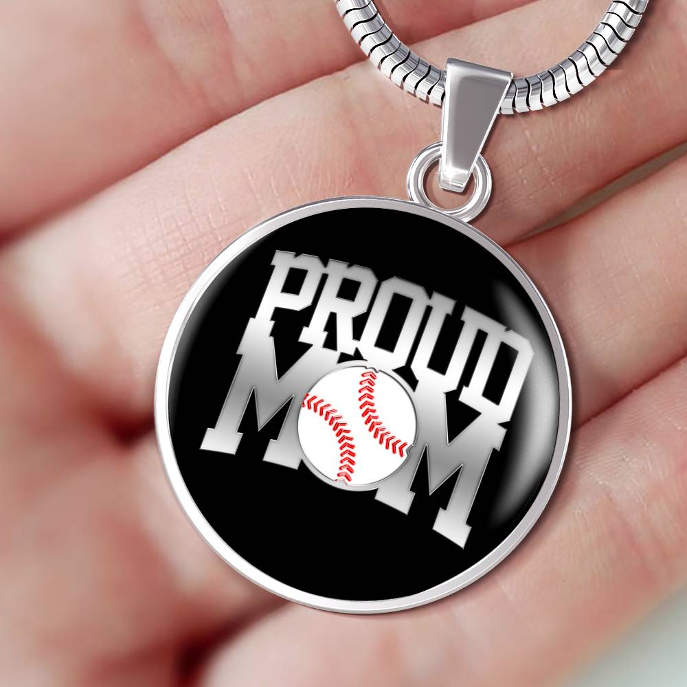 Proud Baseball Mom Luxuary Silver Necklace