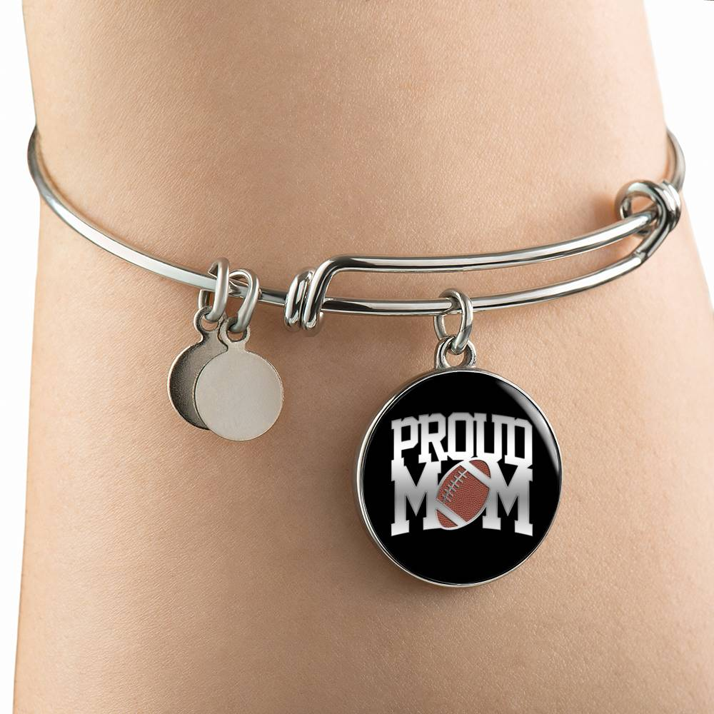 Proud Football Mom Silver Bangle Bracelet