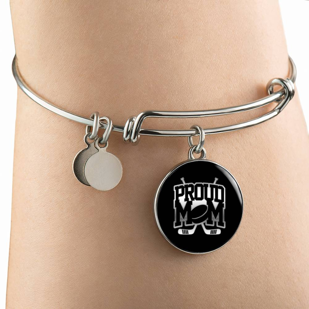 Proud Hockey Mom Silver Bangle Bracelet