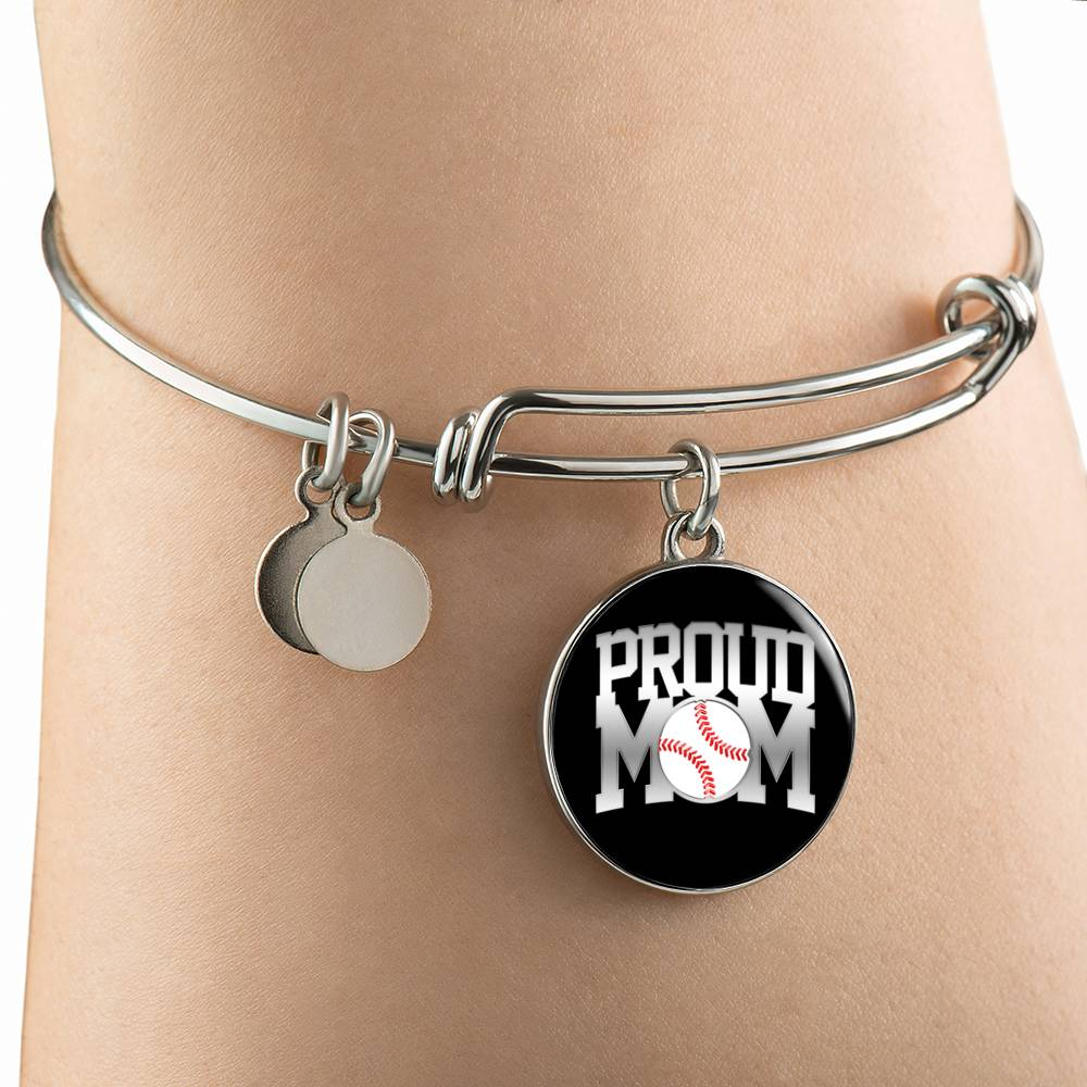 Proud Baseball Mom Silver Bangle Bracelet