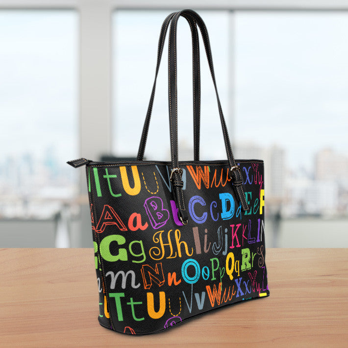 I Teach Small Leather Tote Bag