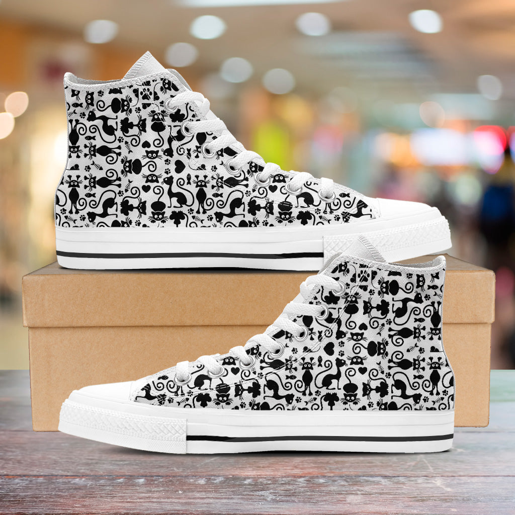 Cats White Mens High Tops