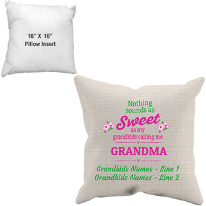 Sweet Grandma Canvass Pillow Case And Insert