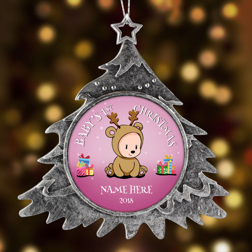 Personalized Christmas Ornament, Baby First Christmas Girl