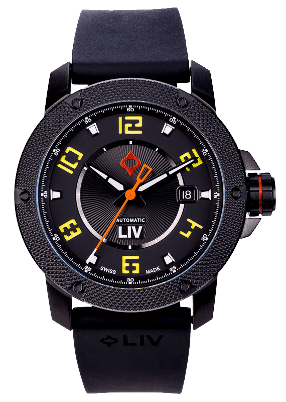GX1-A Swiss Made Automatic Black IP Case | Black Dial & Yellow Numbers 1110.42.13