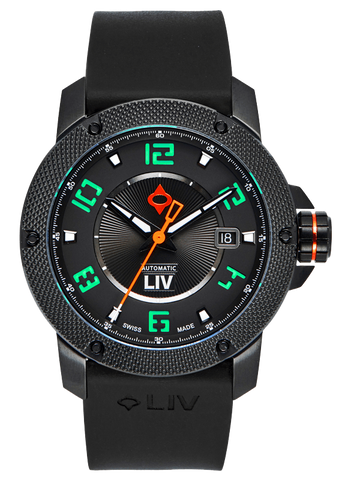 GX1-A Swiss Made Automatic Black IP Case | Black Dial & Kickstarter Green Numbers 1110.42.80 - LIV Swiss Watches