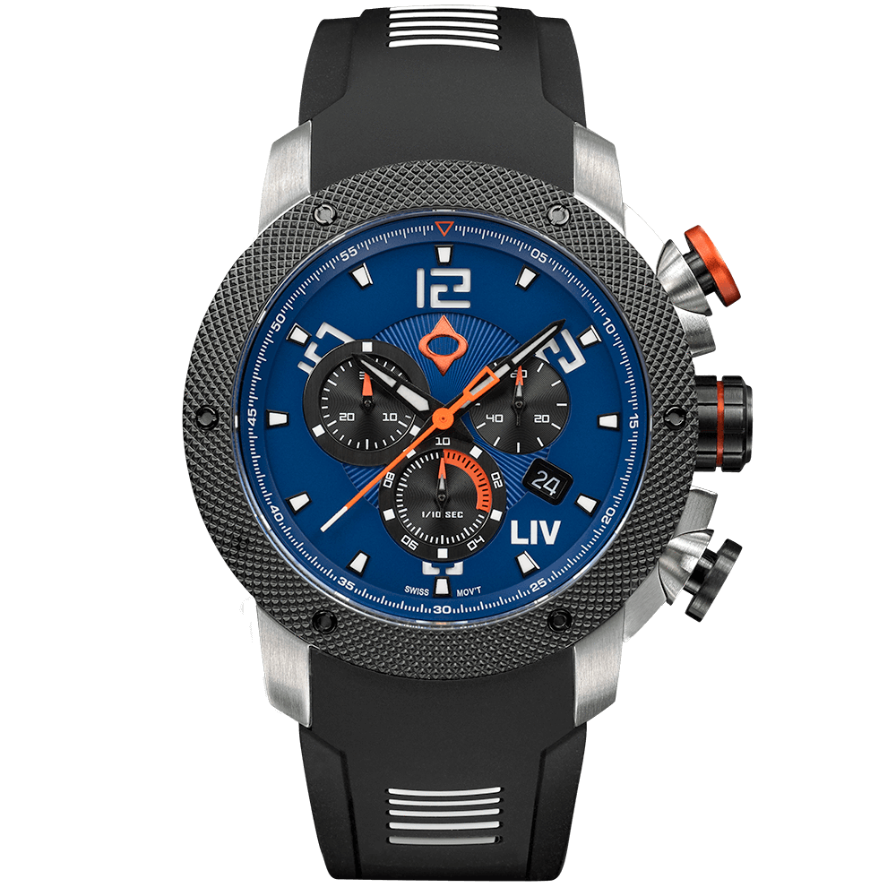 LIV GX1 Caliber 18 Swiss Chrono Steel Blue Dial 1220.45.122