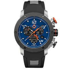 LIV GX1 Caliber 18 Swiss Chrono Steel Blue Dial 1220.45.122 - LIV Swiss Watches