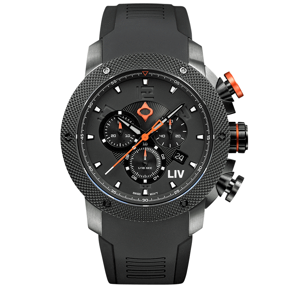 LIV GX1 Caliber 18 Swiss Chronograph Black & Gray Numbers 1210.45.111
