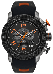 GX1 Swiss Chrono Gray & Black IP Case | Black & Orange Number Dial 1230.45.10 - LIV Swiss Watches