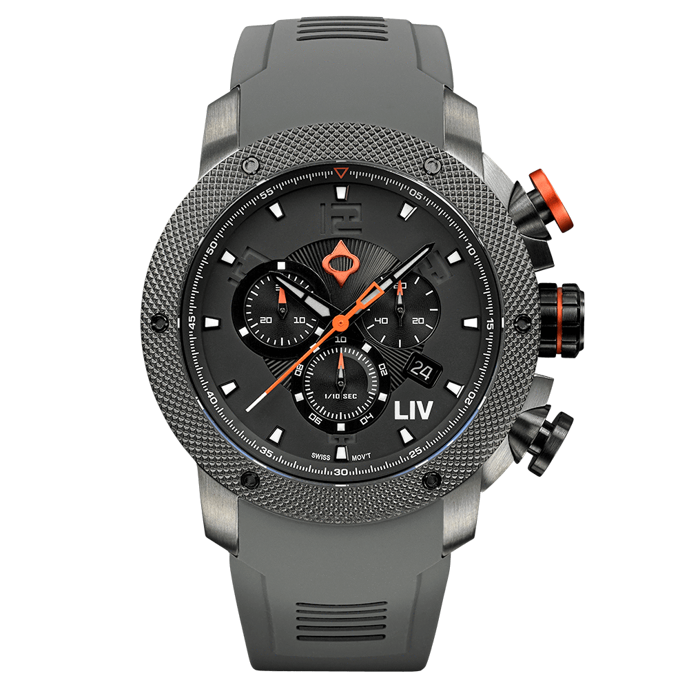 LIV GX1 Caliber 18 Swiss Chronograph Gray IP & Gray Numbers 1240.45.111
