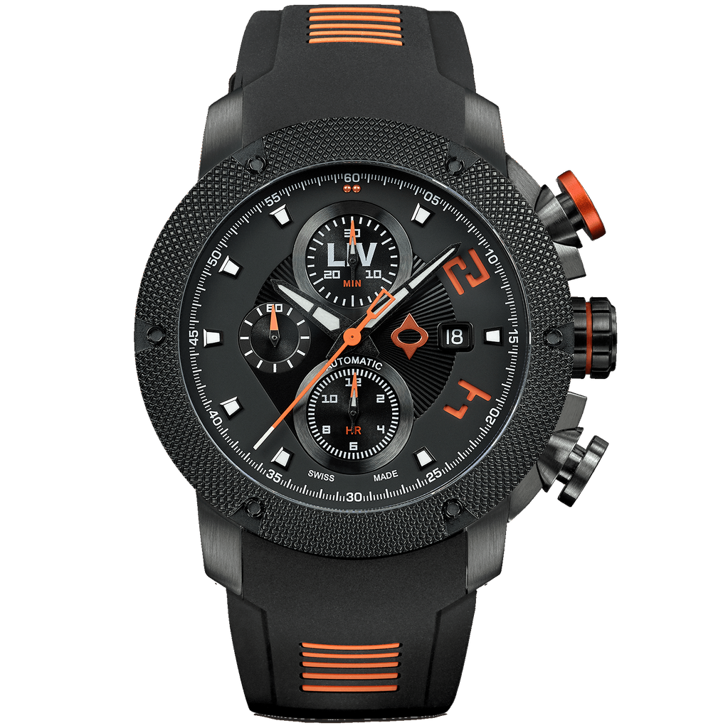 LIV GX Swiss Automatic Chronograph Black/Orange 1410.46.10
