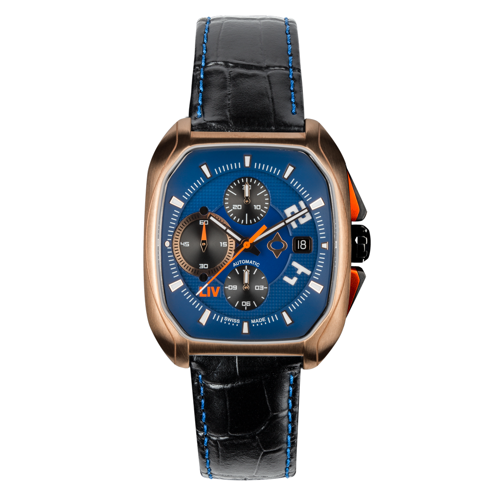 Limited Edition Rebel-AC Rose Gold Swiss Made Automatic Chronograph Blue Dial 3070.48.91 - LIV Swiss Watches