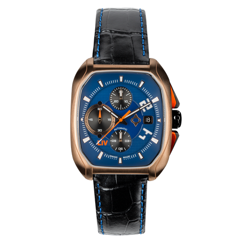 Limited Edition Rebel-AC Rose Gold Swiss Made Automatic Chronograph Blue Dial - LIV Swiss Watches