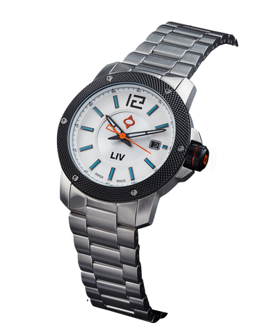 LIV GX Base Swiss 3 Hand | Steel Case & Black IP Bezel | Silver Dial 1020.42.30 - LIV Swiss Watches