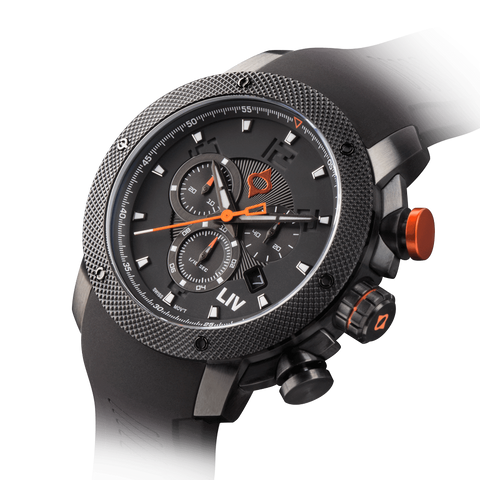 LIV GX1 Swiss Chronograph Black & Gray Numbers 1210.45.111