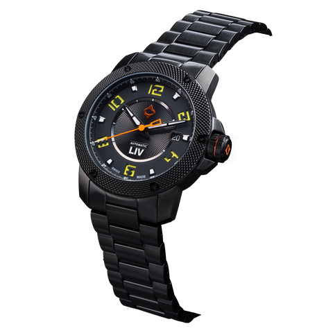 GX1-A Swiss Automatic Black IP Case | Black Dial & Yellow Numbers 1110.42.13 - LIV Swiss Watches