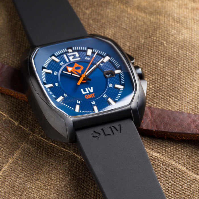 LIV Watches Rebel-GMT Cobalt on silicone