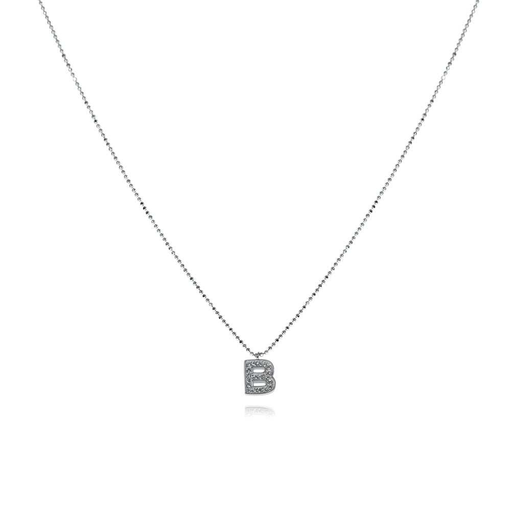 שרשרת B משובצת כסף925 - [collection_title] - tzufa-jewelry-2