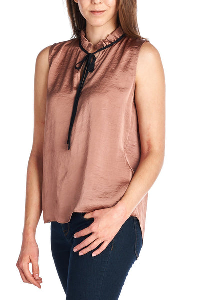 Sleeveless Accent Neck Ruffle Top - Available at Celizzione.com