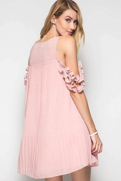 Pleated Ruffles Sleeves Dress - Available at Celizzione.com
