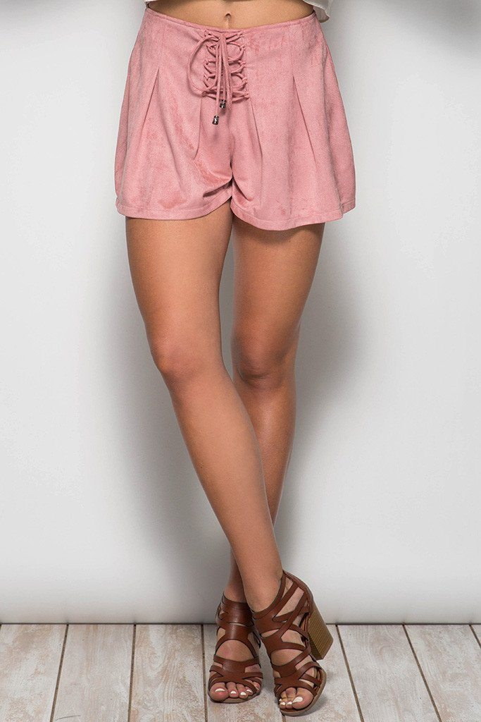 Lace Up Suede Shorts available at Celizzione.com